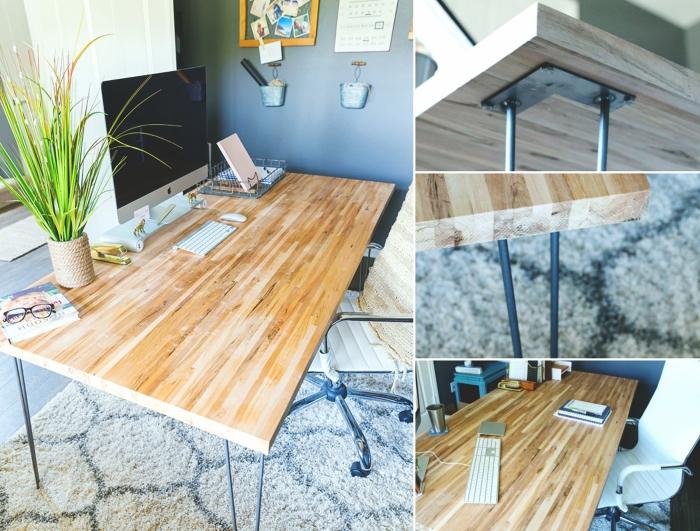 étapes à suivre pour fabriquer un bureau avec plan de travail en bois clair et pieds en épingles en métal noirci