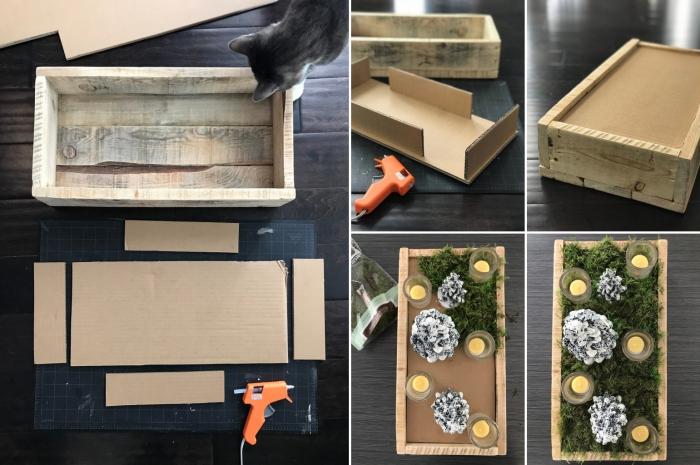 exemple comment décorer une caisse en bois avec bougies et figurines de Noël, décoration de noel à fabriquer gratuit