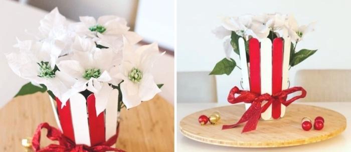 decoration de table de noel a faire soi meme, modèle de pot de fleur DIY fait avec bâtons de glace repeints en blanc et rouge