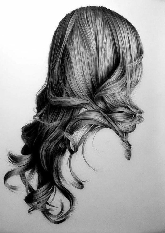 idée comment dessiner une fille au crayon, modèle de dessin blanc et noir à design fille et coiffure de cheveux longs