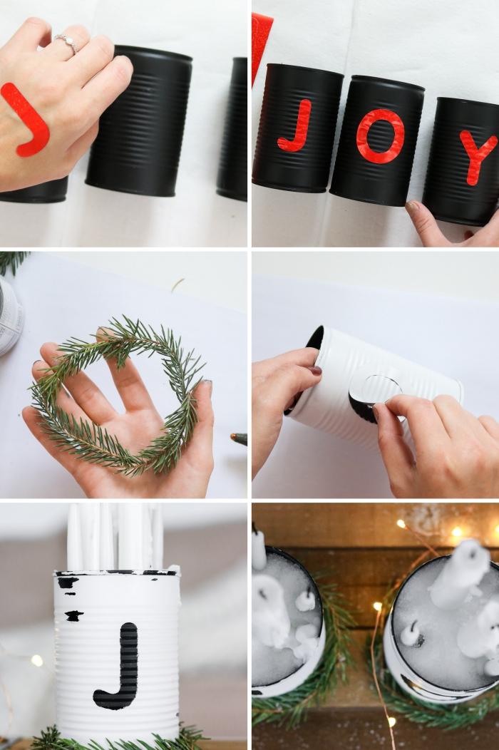 idée décoration de noel à fabriquer gratuit, boîte de conserve repeinte en noir mat et blanc avec sticker alphabet