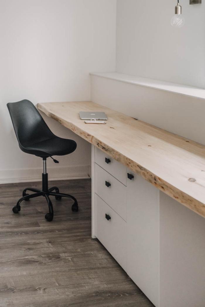 comment construire un meuble diy avec plan de travail bureau bois et tiroirs, aménagement bureau à domicile avec bureau fait main