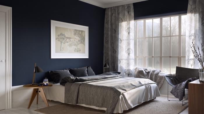 couleur chambre adulte tendance, exemple de pièce aux murs sombres avec plafond et plancher blanc aménagée avec meubles bois