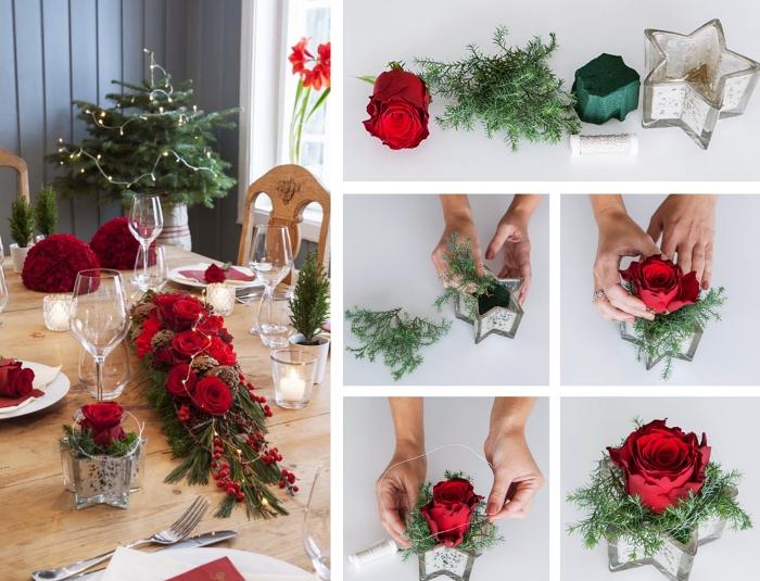 pas à pas comment réaliser un arrangement floral pour Noël, exemple comment decorer sa maison pour noel