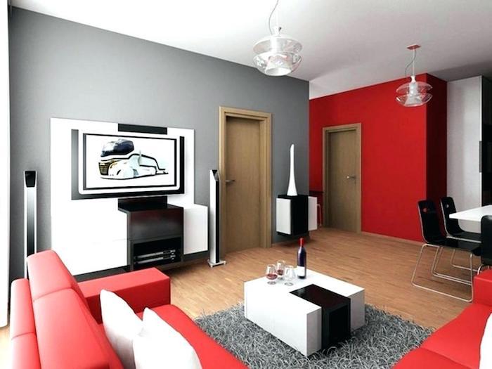 Salon rouge et gris, cool idée comment décorer la salle de séjour, chambre bleu et jaune, peindre une chambre en deux couleurs