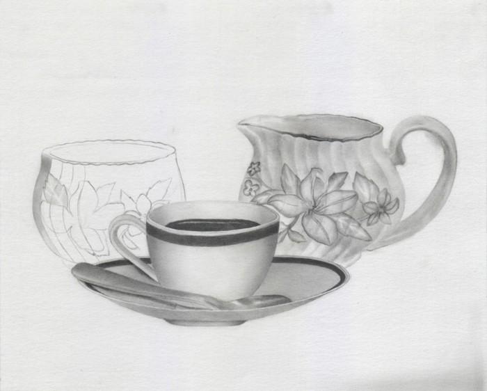 exemple de dessin facile a faire, dessin blanc et noir d'une tasse de boisson chaude et d'une théière à design fleuri