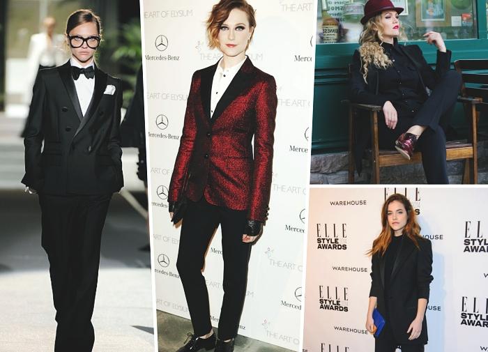 modèle de pantalon tailleur femme élégante à design fluide noir, tenue formelle femme en smoking noir et chemise blanche