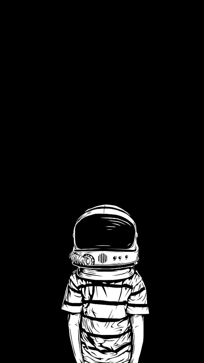 fond d'écran iPhone art graphique, photo stylé noir et blanc aesthetic enfant avec casque astronaute