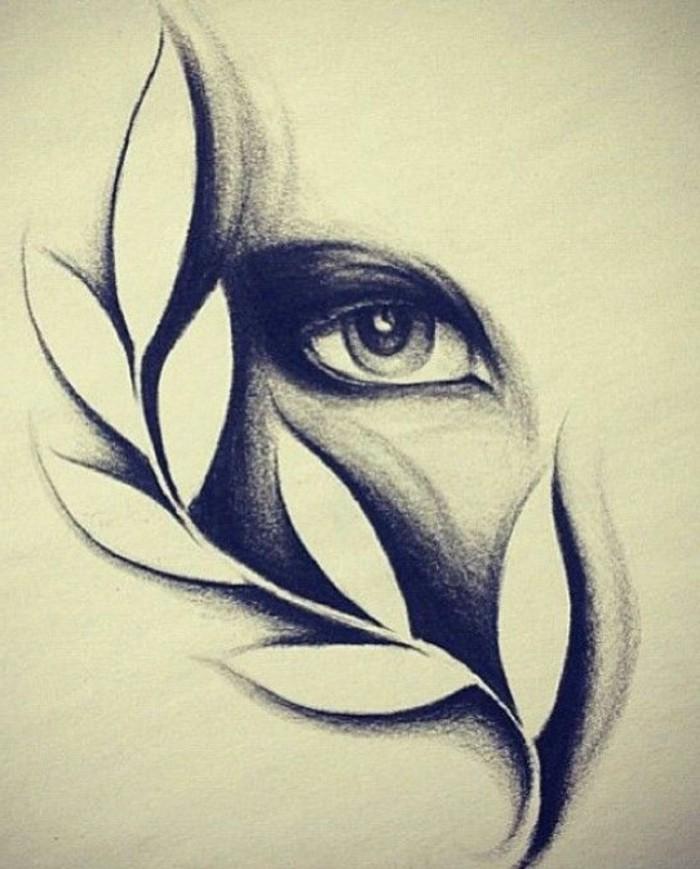 comment dessiner oeil de femme, idée de dessin original avec oeil féminin et feuille à effet ombrage au crayon