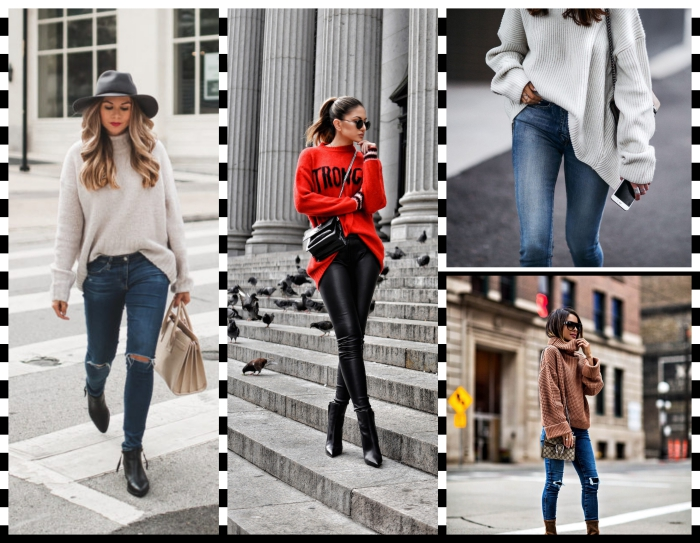 style casual chic femme en pull de marque rouge avec pantalon slim noir, look d'hiver femme en jeans taille haute et pull oversized blanc