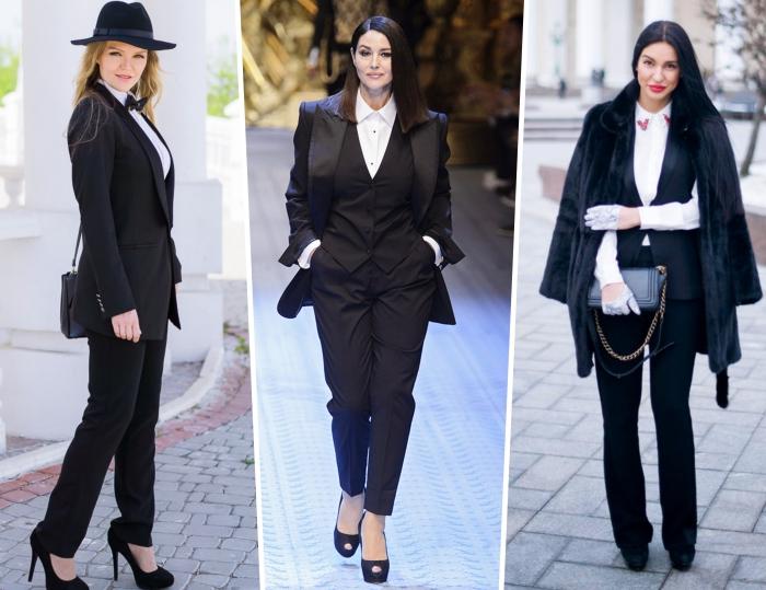 comment porter un tailleur femme mariage chic, look femme stylé en smoking noir avec chemise blanche et chapeau