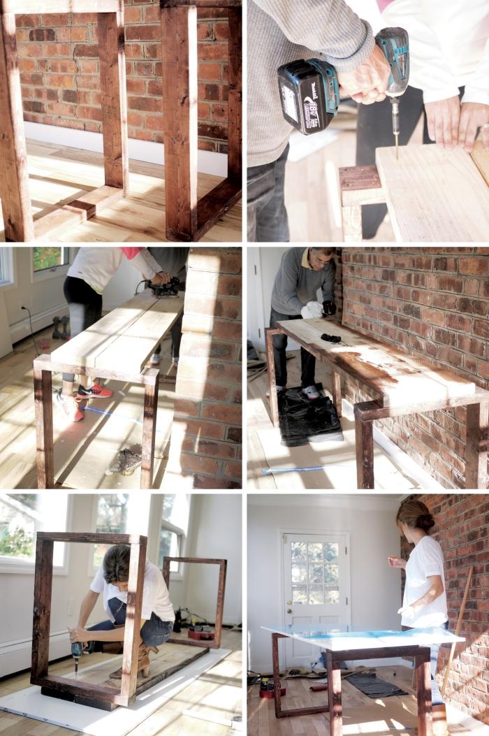 pas à pas comment construire un meuble diy en bois, exemple comment faire un bureau de style rustique en bois et blanc