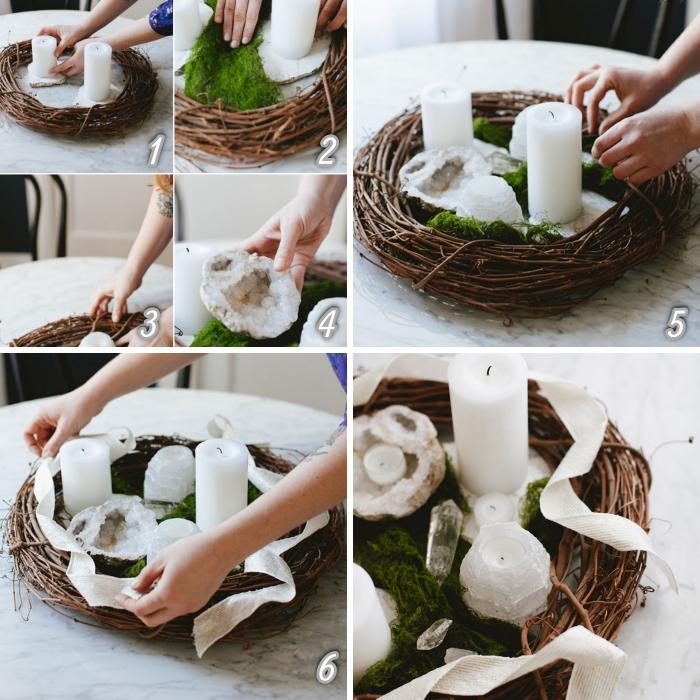 étapes à suivre pour réaliser un arrangement avec mousse et bougies, décoration de table idées faciles pour Noël