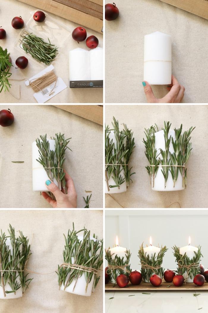 étapes à suivre pour faire un arrangement de table Noël facile avec bougies et pommes rouges, idée deco table noel a fabriquer facile