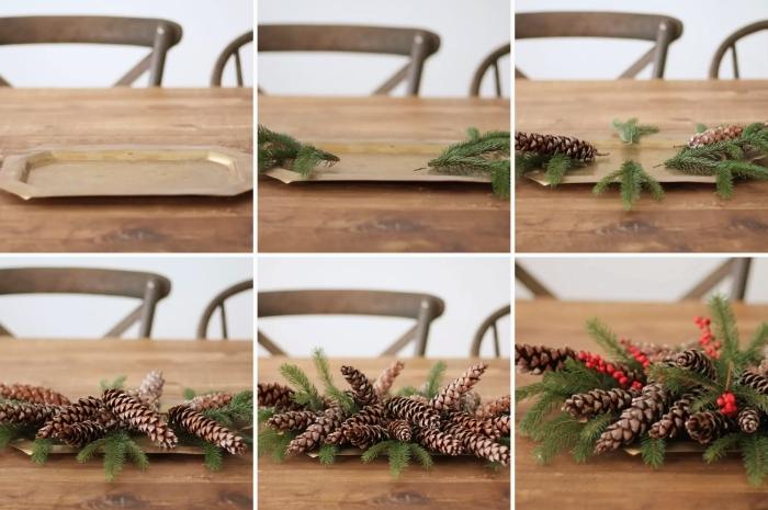DIY centre de table noel à réaliser soi-même avec pommes de pin et branches de sapin, arrangement de Noël facile