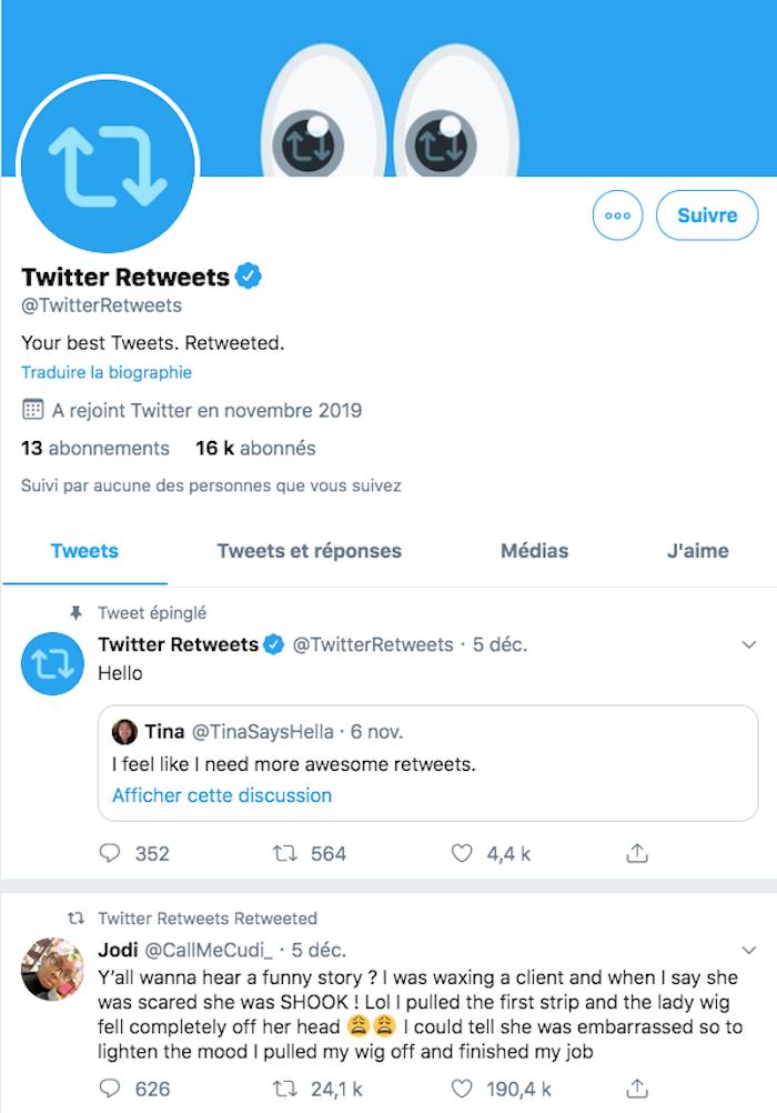 Le compte officiel @TwitterRetweets retweets les publications humoristiques de la plateforme