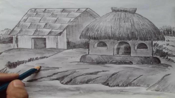 idée comment dessiner une maison au crayon, dessin facile en blanc et noir sur papier blanc à design nature