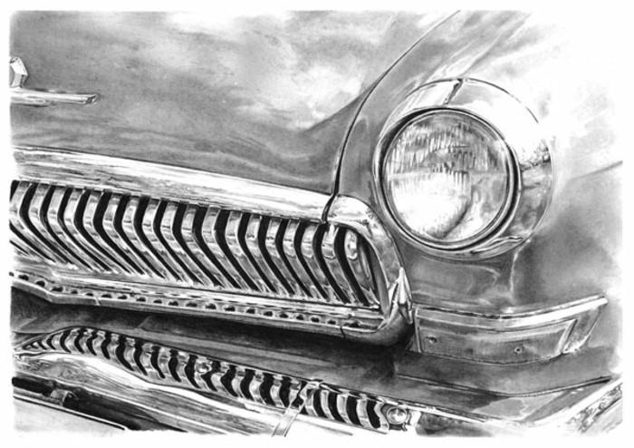 loisir créatif à essayer avec peu de matériel, idée de dessin débutant facile au crayon gris et noir d'une voiture
