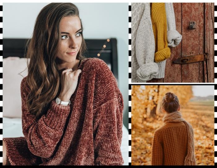 modèles de pull jaune moutarde tendance mode 2019, modèle de pull large de couleur marron à motifs pompons
