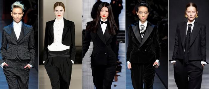 exemple comment porter un smoking femme pour occasion spéciale, idées de tenue classe en blazer smoking noir et pantalon fluide