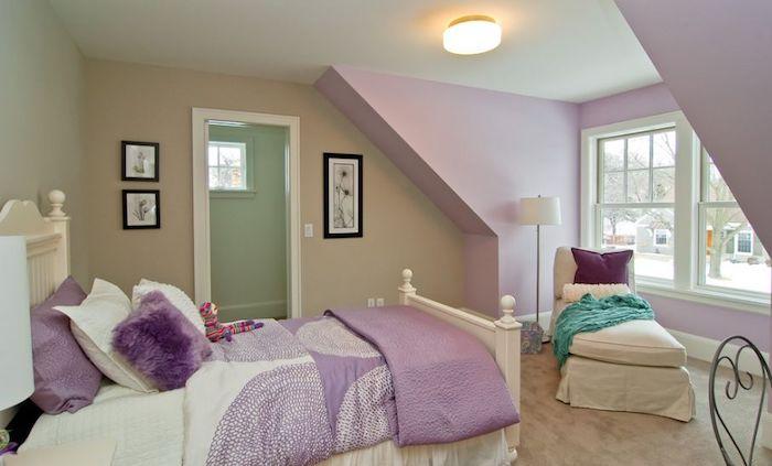 Beige et violet chambre à coucher, peintures sur les murs, idée deco peinture chambre, quelle couleur pour la chambre à coucher