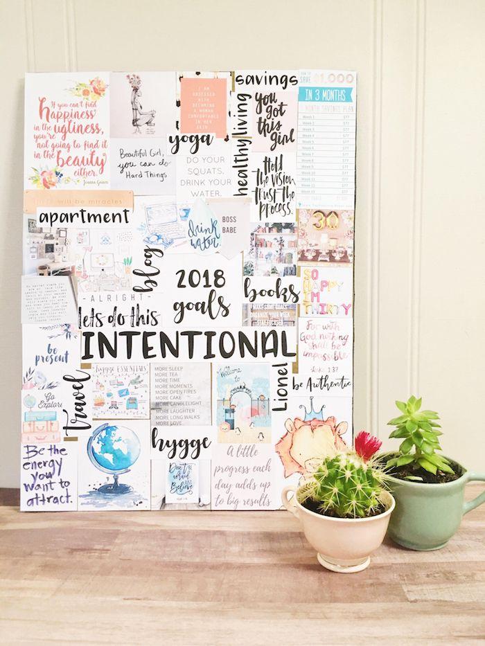 Inspiration tableau de motivation, cool idée comment faire un vision board, cactus décoration de table