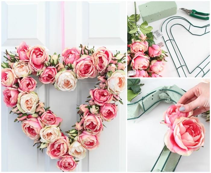 Couronne de fleurs en roses artificielles, idée décoration de saint valentin pour la porte d'entrée, comment décorer pour une fête romantique