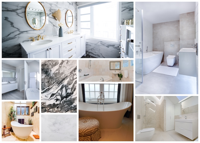 Collage salle de bain en marbre blanc, aménagement maison de luxe design, baignoire et double lavabo, idée déco salle de bains