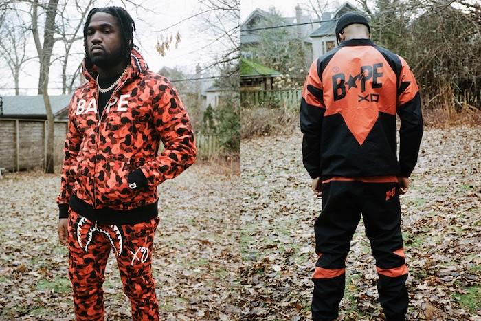 La nouvelle capsule BAPE x The Weeknd inclut un survetement requin A Clothing Ape en camouflage orange