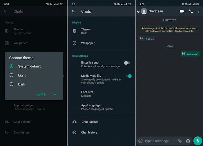 Un nouveau mode nuit disponible dans la version bêta de WhatsApp sur Android