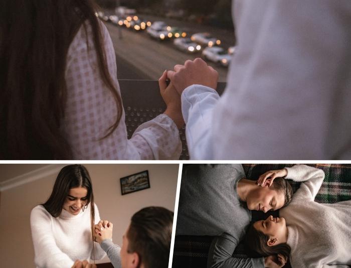 comment bien passer une soirée en amoureux, promenade en couple au centre ville, photographie amour entre fille et garçon