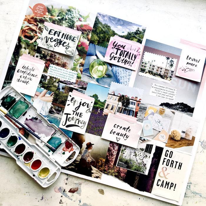 Dessiner pour créer un tableau d'inspiration visuelle, idée citations de motivation et photos en pele mele sur carton blanc