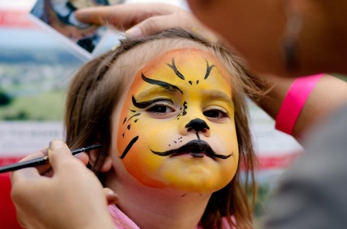 comment réaliser un maquillage halloween enfant sur thème animal avec peintures pour visage colorées et crayon visage en noir