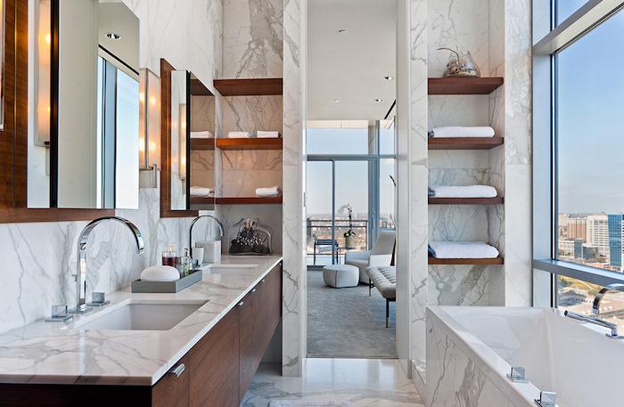 Bois et marbre association parfaite pour la salle de bains stylé, peinture salle de bain, intérieur design intemporel, belle salle de bains