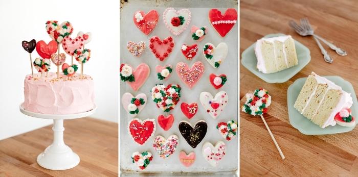 exemple comment décorer un gâteau romantique pour la Saint Valentin avec cookies en forme de coeur sur bâtons