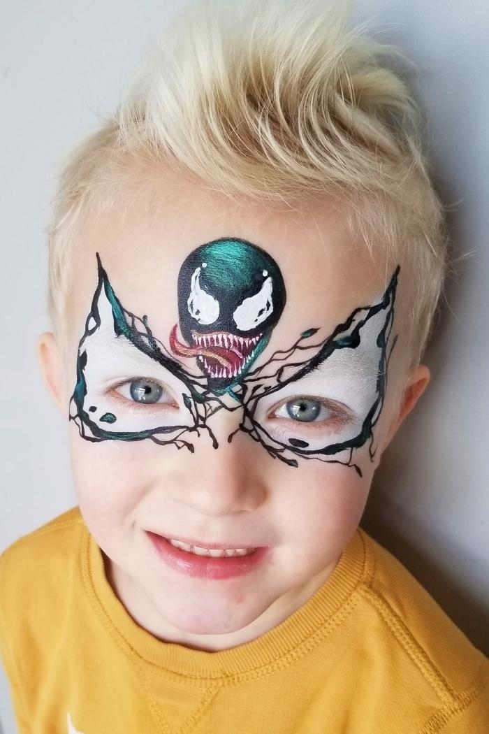 exemple de peinture visage sur thème halloween pour enfant, modèle de peinture facile effrayante pour garçon