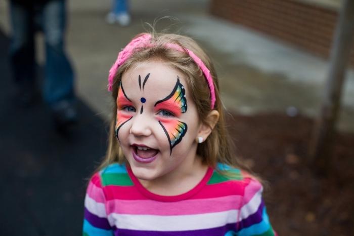 apprendre à dessiner un papillon facile sur visage enfant avec pochoir et peinture faciale, idée de maquillage enfant facile