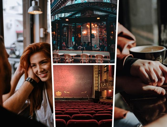 sortie en amoureux au centre ville, comment bien s'amuser en couple dehors, rendez-vous dans un café au coucher de soleil