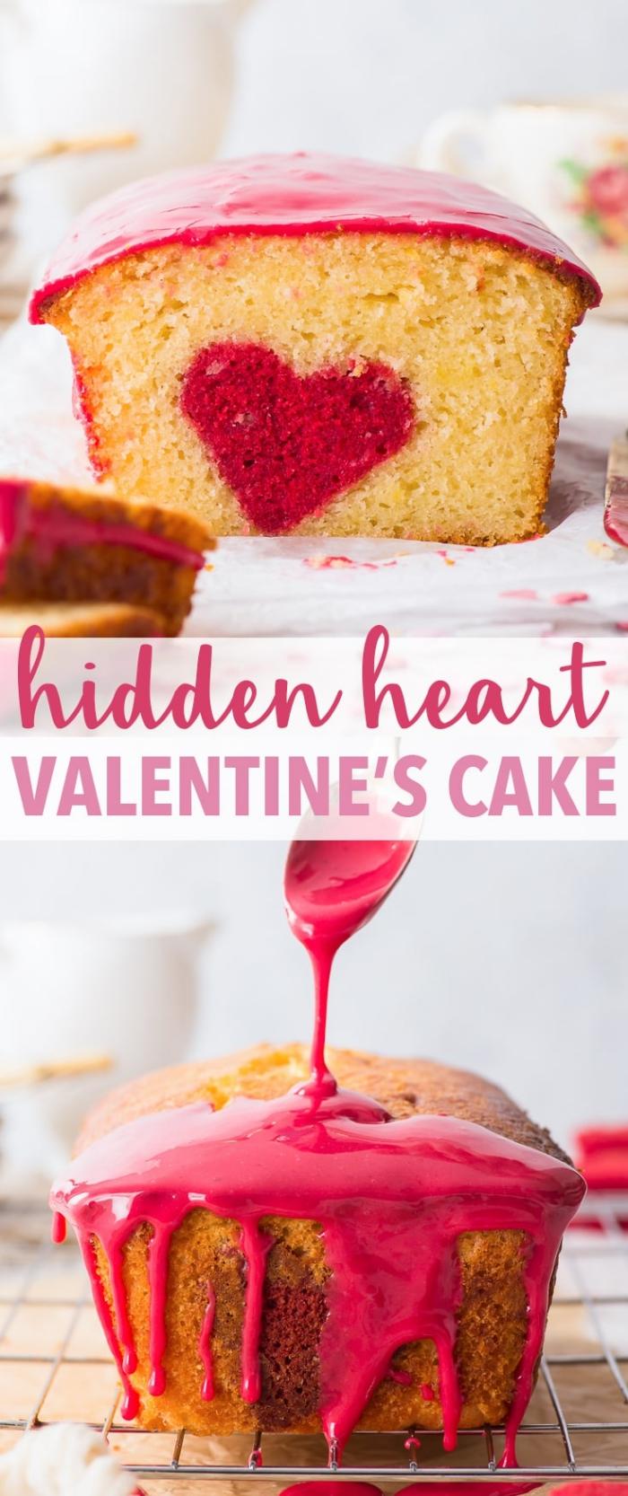 recette de gâteau facile et rapide pour la saint valentin, idée de dessert à la vanille moelleux avec coeur au centre