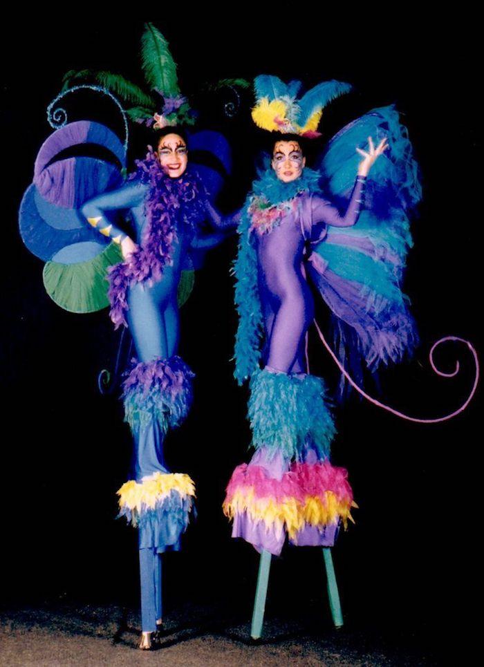 Costume une pièce décorée de plumes et ailes, originale idée pour se transformer en papillon, deguisement carnaval enfant, les plus beaux costumes de carnaval