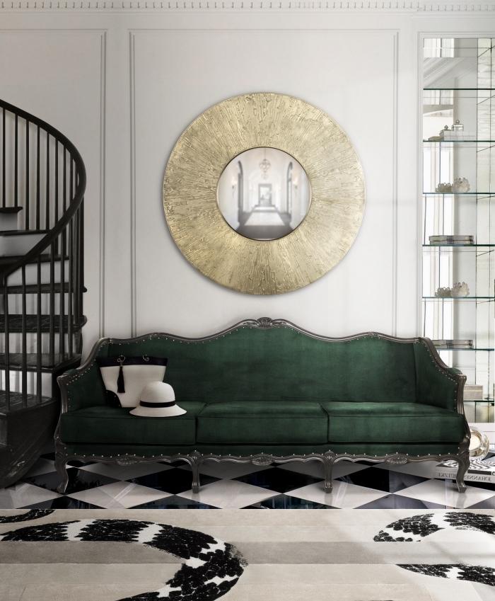 decoration salon 2020 aux murs blancs et sol en dalles blanc et noir aménagé avec meuble rétro chic en velours et métal