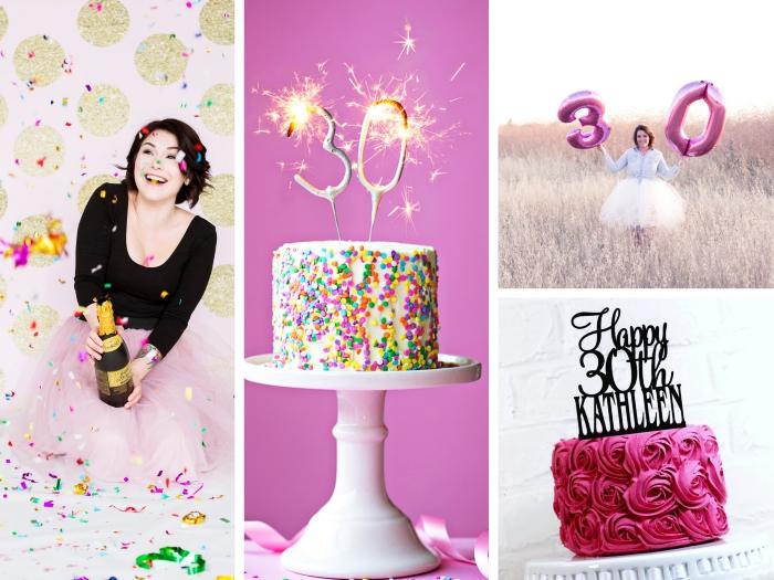 idée photobooth d'anniversaire 30 ans femme avec une déco murale en rose et glitter doré, gâteau confettis avec feux de bengali chiffres