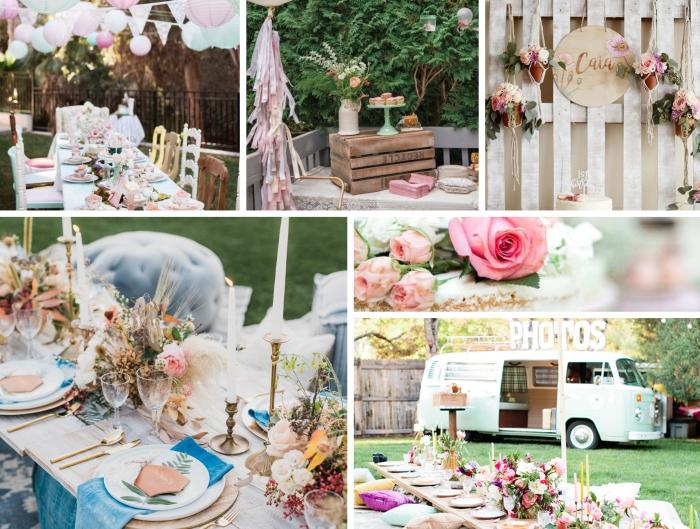 exemple de decoration anniversaire adulte de style bohème chic, party de jardin avec coussins par terre et table basse bois
