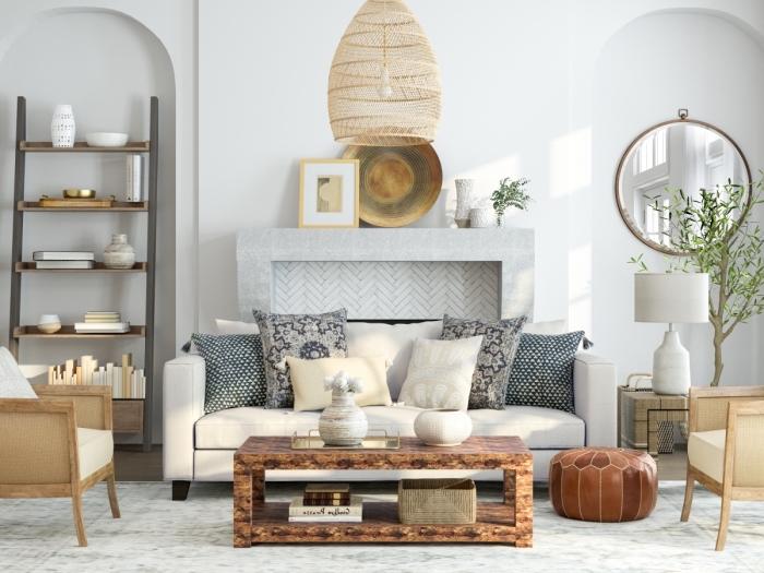 style de décoration intérieure tendance bohème chic avec éléments ethniques, deco cocooning dans un salon blanc