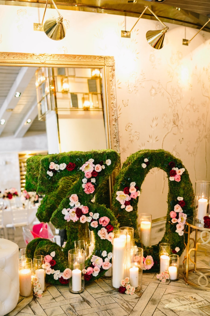 comment organiser un anniversaire 30 ans femme, décoration style rétro chic avec accessoires en or et bougies