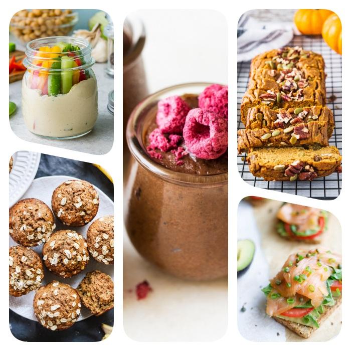 comment faire un gouter sain, idee cupcakes banane sans gluten, pain citrouille, toast avocat saumon, hummus et légumes et mousse avocat chocolat