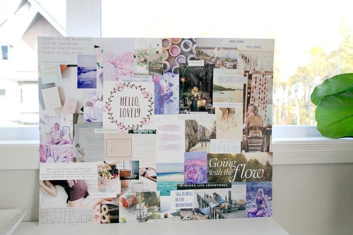 Couleurs pastel diy déco chambre sur tableau blanc en carton, voir ses objectifs chaque jour sur un tableau