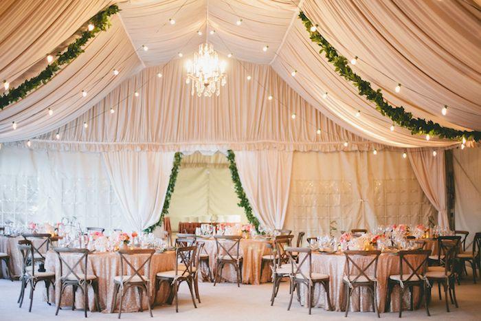 deco plafond mariage de voiles beiges, guirlande lumineuse et lustre élégant, chaises de bois autour de table décorée de nappe rose