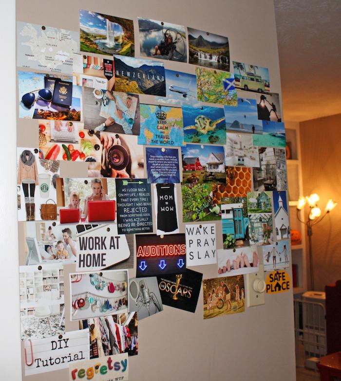 Mur de salon qui donne à la chambre décoré de photos et citations pour se motiver, tableau de visualisation, bonne idée comment booster son humeur