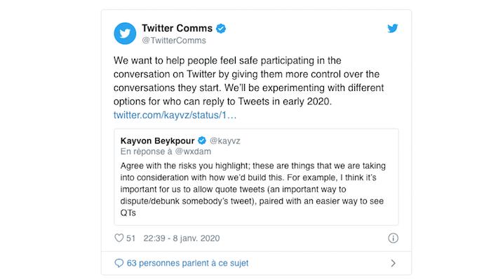 Le réseau social Twitter teste actuellement une fonction permettant de limiter les réponses aux tweets
